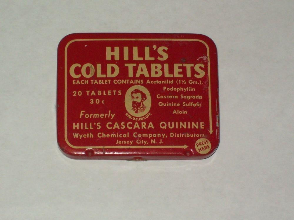 Vintage-Medical-Pill-Tablet-MEDICINE-Tin-Wyeth-HILL'S-COLD TABLETS-Empty-Insert