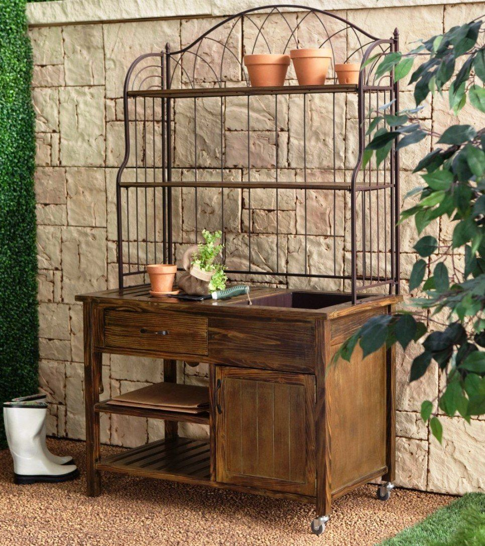 Garden And Patio Old Potting Bench With Sink Water Plus Storage On Wheels Metal Top Rack Shelf Ideas