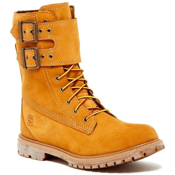 Timberland Double Strap Lace-Up Waterproof Boot ($120) ❤ liked on Polyvore featuring shoes, boots, wheat, lug sole boots, low heel boots, water proof boots, side zip boots and round toe boots
