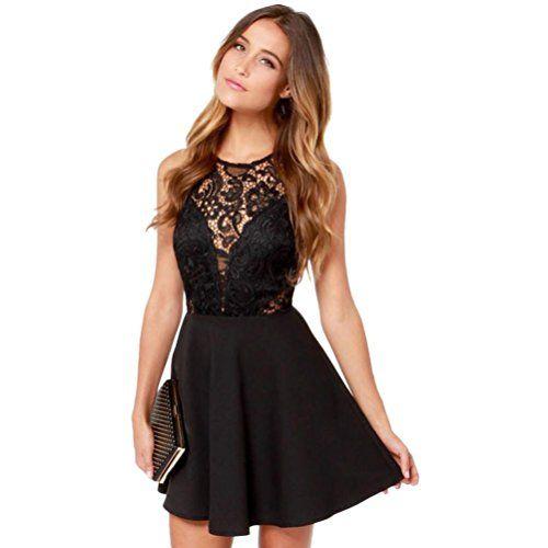 Damen Kleider, GJKK Damen Elegant Ärmellos O-Ausschnitt Spitzenkleid ...
