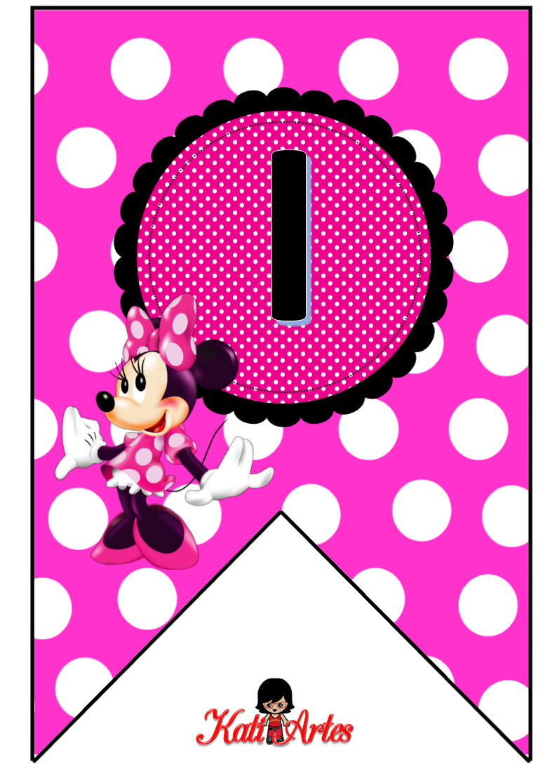 Bunting Minnie In Pink Banderines Con Alfabeto De Minnie Rosa