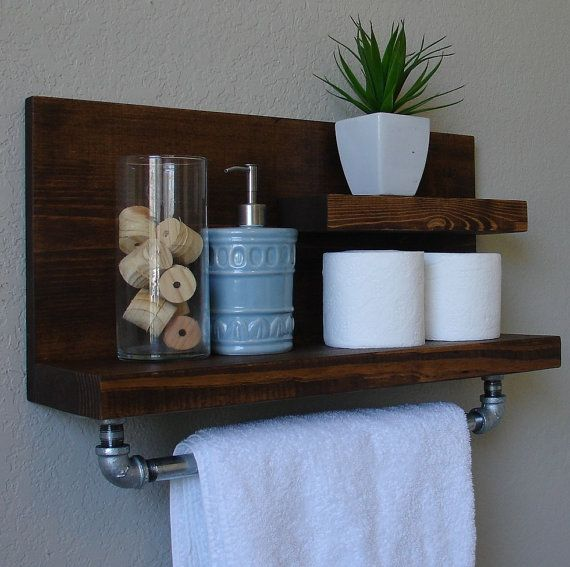 industrial rustic modern 2 tier floating shelf bathroom shelf with