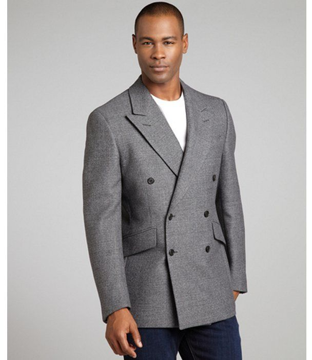 Ardesia Grey Wool Blend Tweed Woven Double Breasted Blazer | Man shop