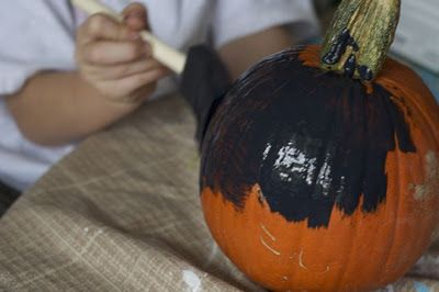 Chalkboard Pumpkin, Simple Craft for Kids and Adults, Paint and then Draw and Wipe Clean as often as You'd Like!  Tutorial at ItsOverflowing.blogspot.com!