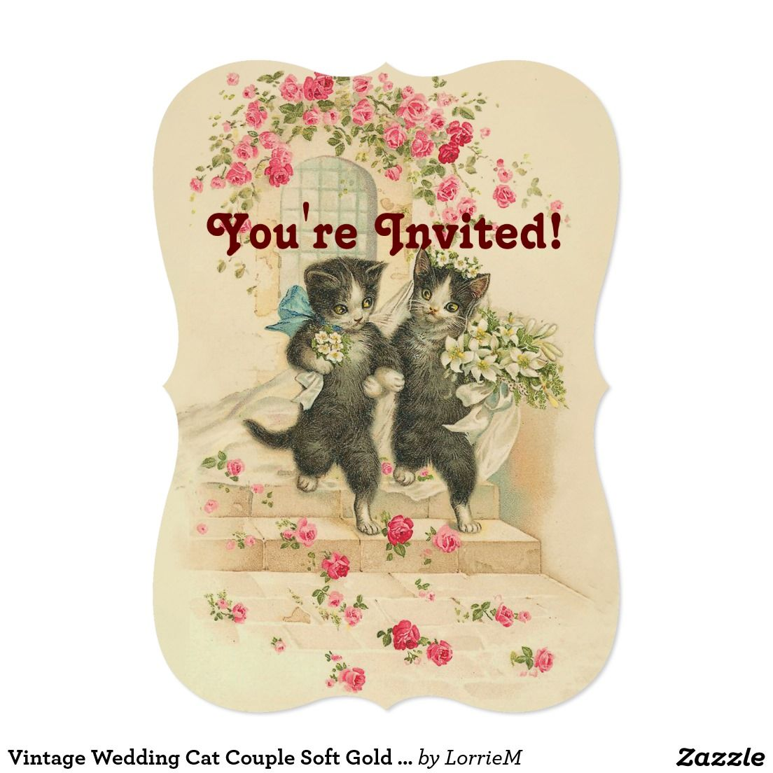 Vintage Wedding Cat Couple Soft Gold Invitation Cats Gold