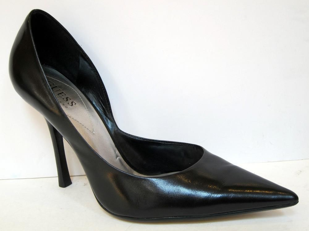 89d523b64d35a GUESS by Marciano  Carrie  Black Leather Stiletto d Orsay Pump Size 8.5M   GUESS  Stilettos