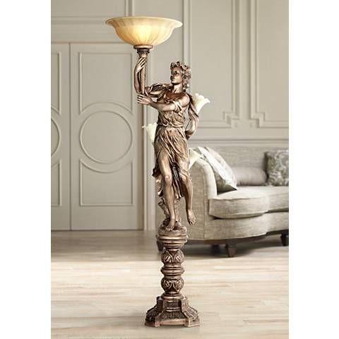 Bronze Maiden Statue Torchiere Floor Lamp 10590 Lamps Plus Torchiere Floor Lamp Floor Lamp Bedroom Floor Lamp