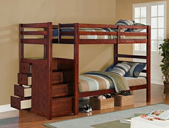 Beautiful Espresso Finish Twin Twin Bunk Bed With Built In Drawers In The Side Stairs Photos - Cool bunk beds with storage Top Design