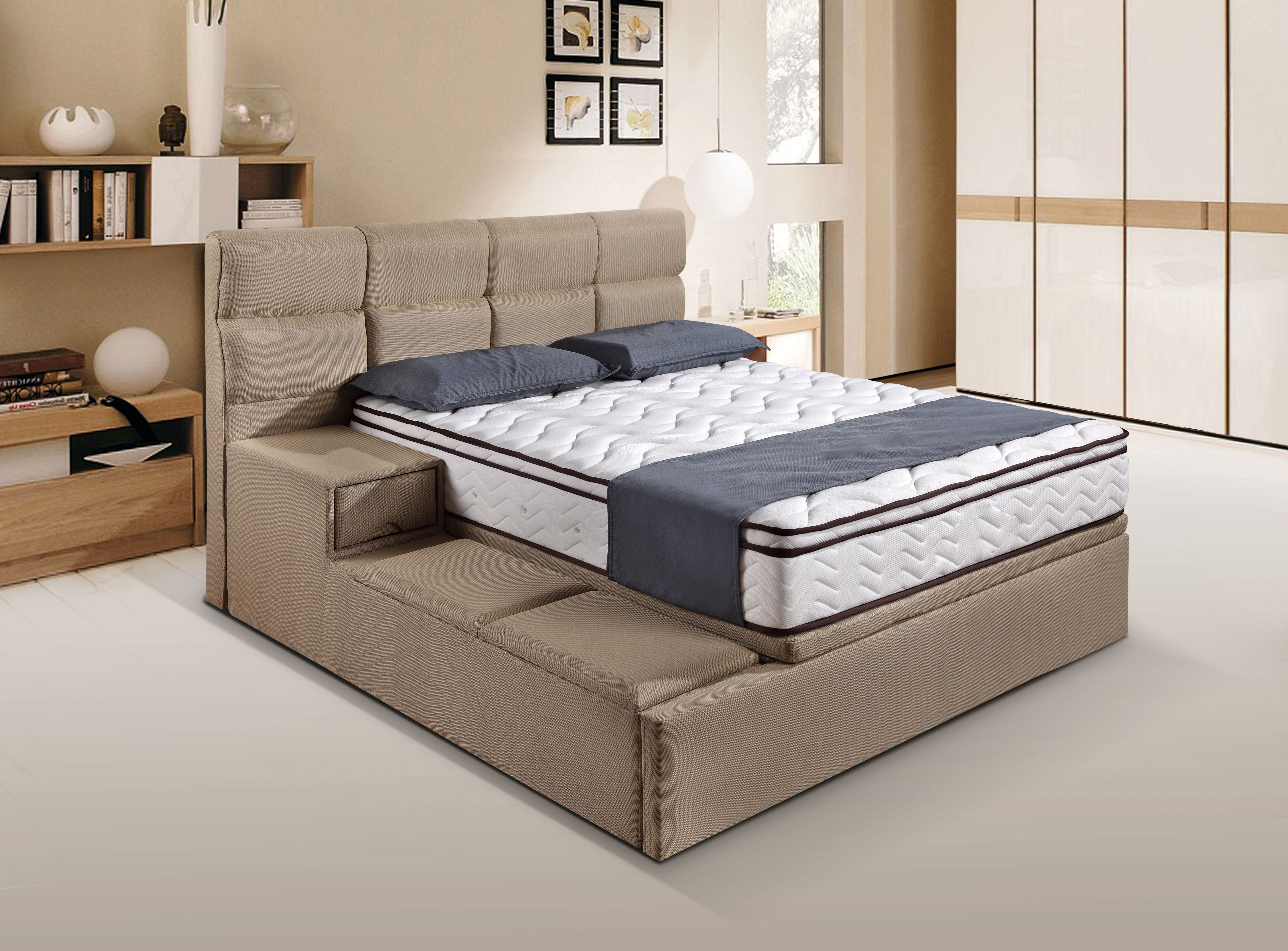 Storage Bed Frame With Fabric Materials And With Side Drawers