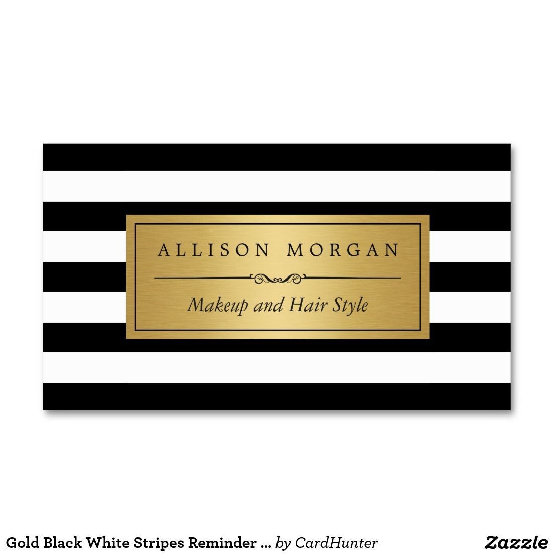 Gold Black White Stripes Reminder Appointment Card Business Card