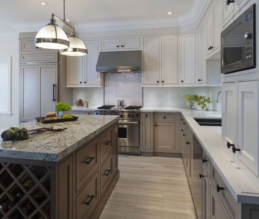 L Shaped Kitchen Designs With Island Kitchen Transitional: Transitional L-shaped Cream Kitchen, White Cabinets