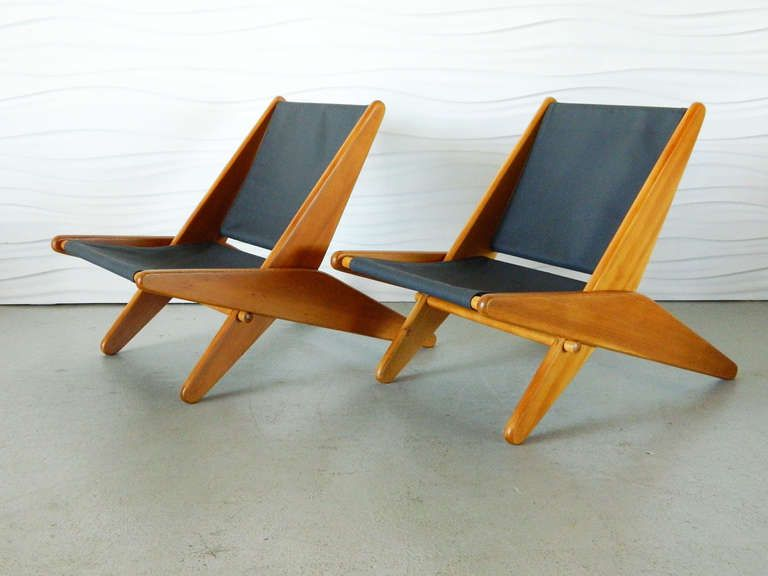 pair of midcentury canvas folding chairs