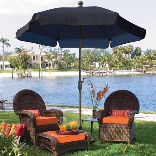 7 5 ft patio umbrella for garden tilt navy shade champagne pole