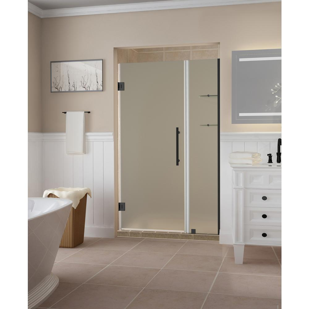 Aston Belmore Gs 43 25 To 44 25 X 72 Frameless Hinged Shower Door With Frosted Glass And Glass Shelves In Oil Rubbed Bronze Shower Doors Frameless Shower Doors Tub Shower Doors