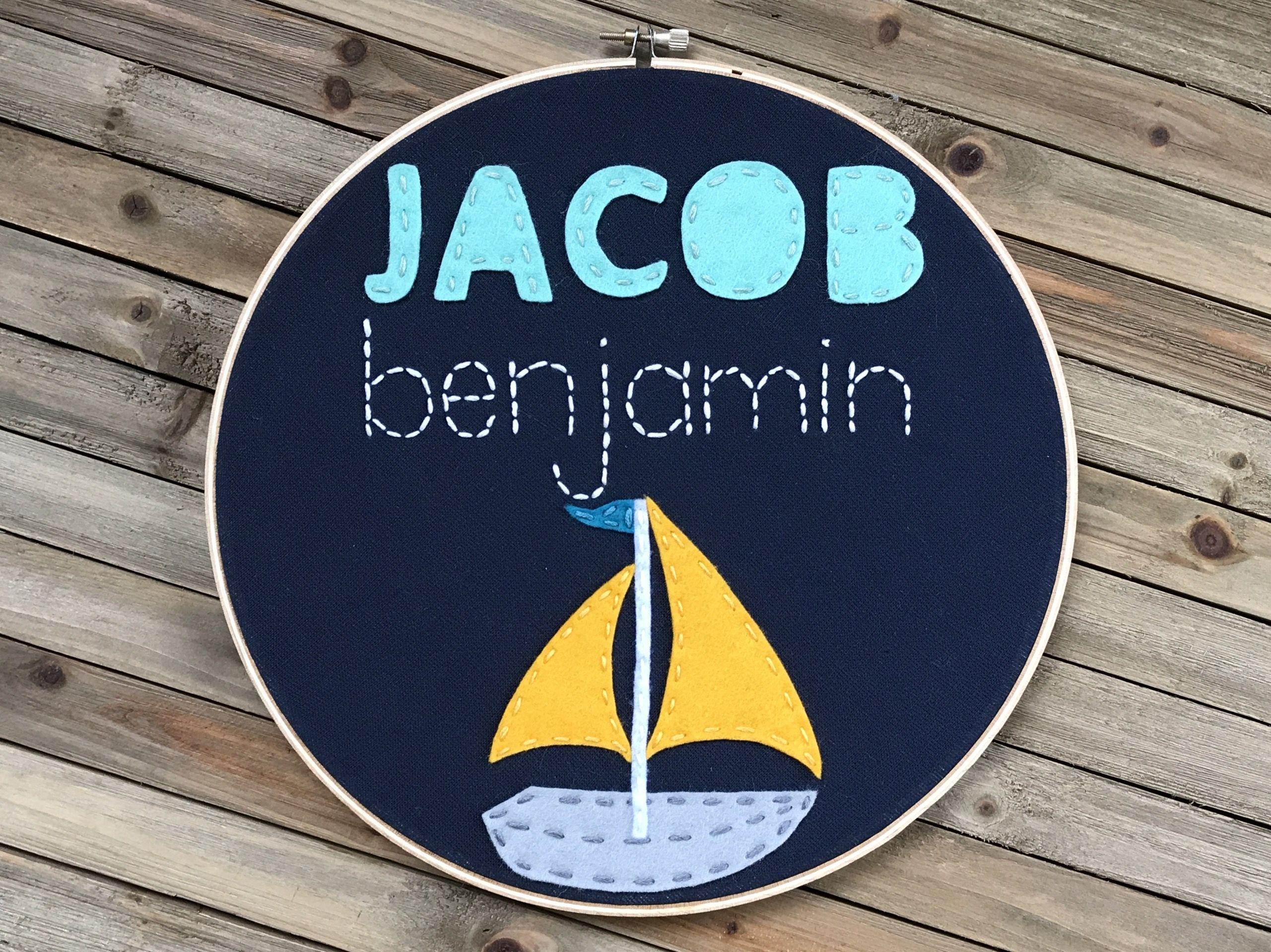 Nautical Embroidery Hoop Baby boy Nautical nursery