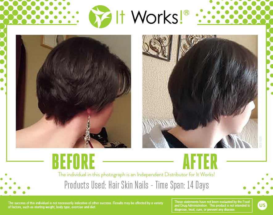 af03a0ecec69 Check out these results after just two weeks on It Works! Hair Skin Nails!