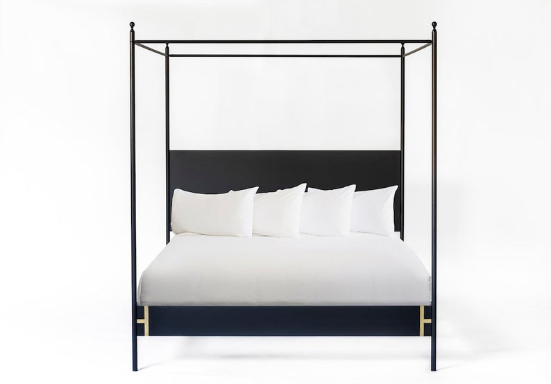 Josephine Bed Four Poster King or Queen Black Iron Canopy