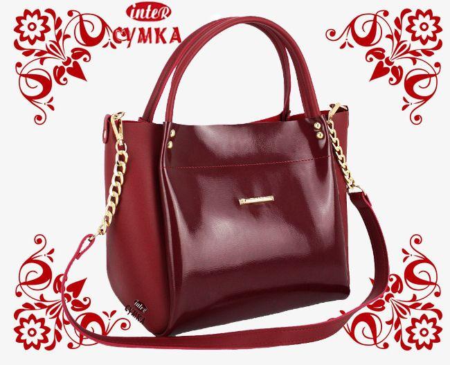 2755b9ee8b6d Новинка! Яркая женская сумка красного цвета, при пошиве был использован  материал - лаковая экокожа