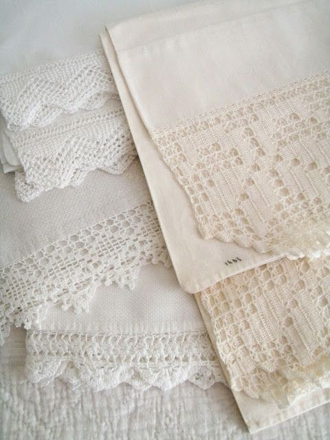 Fresh Farmhouse Linens and Lace Pinterest