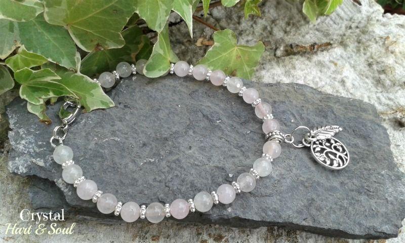Rose Quartz ankle bracelet with Tree of Life and Leaf charms  http://CrystalHartandSoul.etsy.com