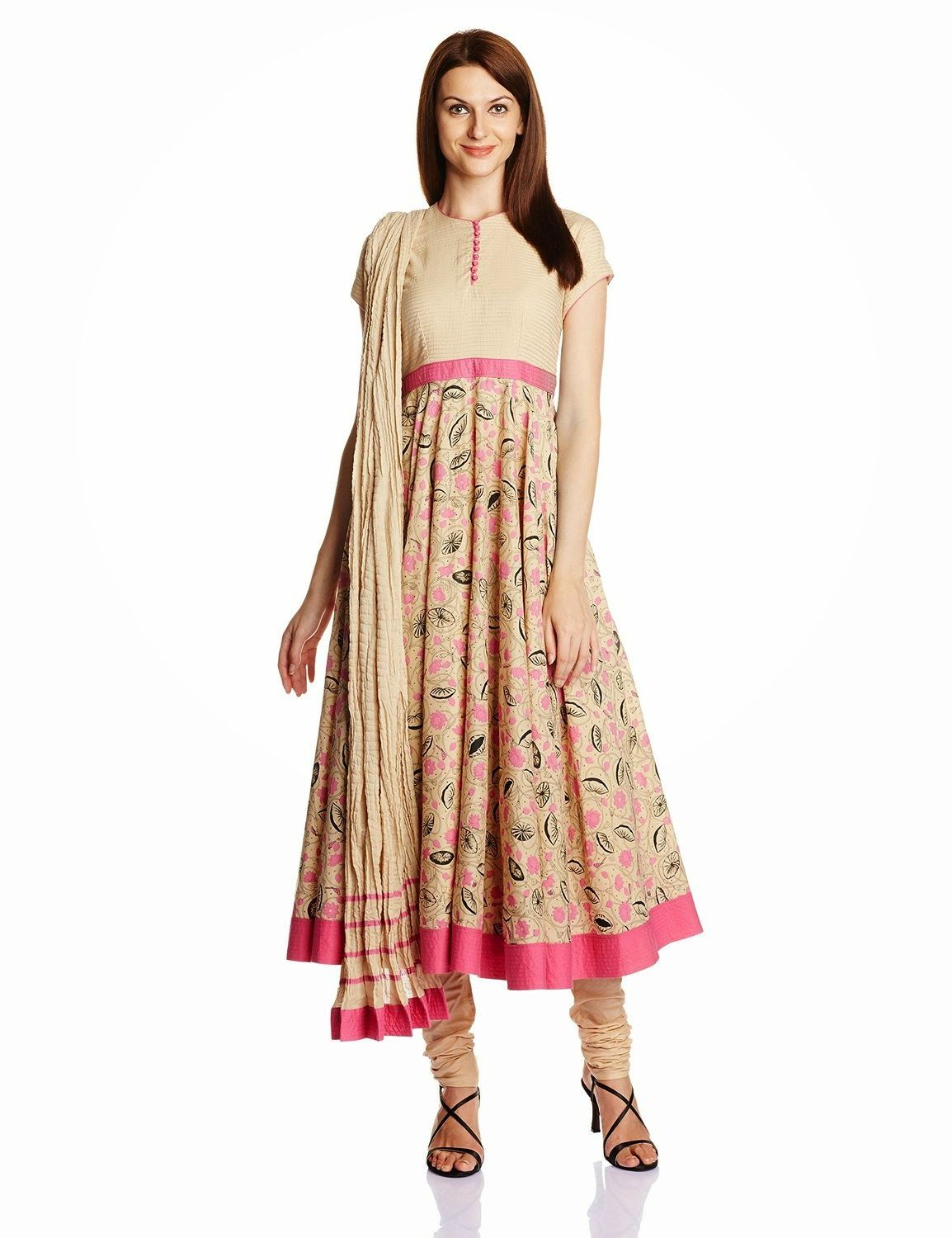 Biba By Rohit Bal Women's Cotton Silk Anarkali Salwar Suit ...