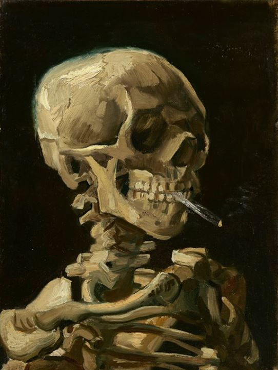 Image: Vincent van Gogh (1853-1890), Head of a skeleton with a burning cigarette, 1886. Van Gogh Museum, Amsterdam