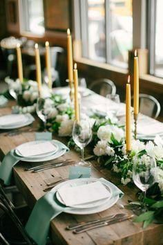 We Love This Green Themed Long Rustic Dinner Table Everything From The Gold Taper Candl Yellow Wedding Inspiration Wedding Table Themes Green Themed Wedding