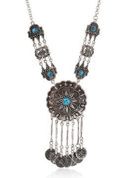 Shop Blue Turquoise Ornate Disc Drop Statement Necklace from choies.com .Free shipping Worldwide.$7.9