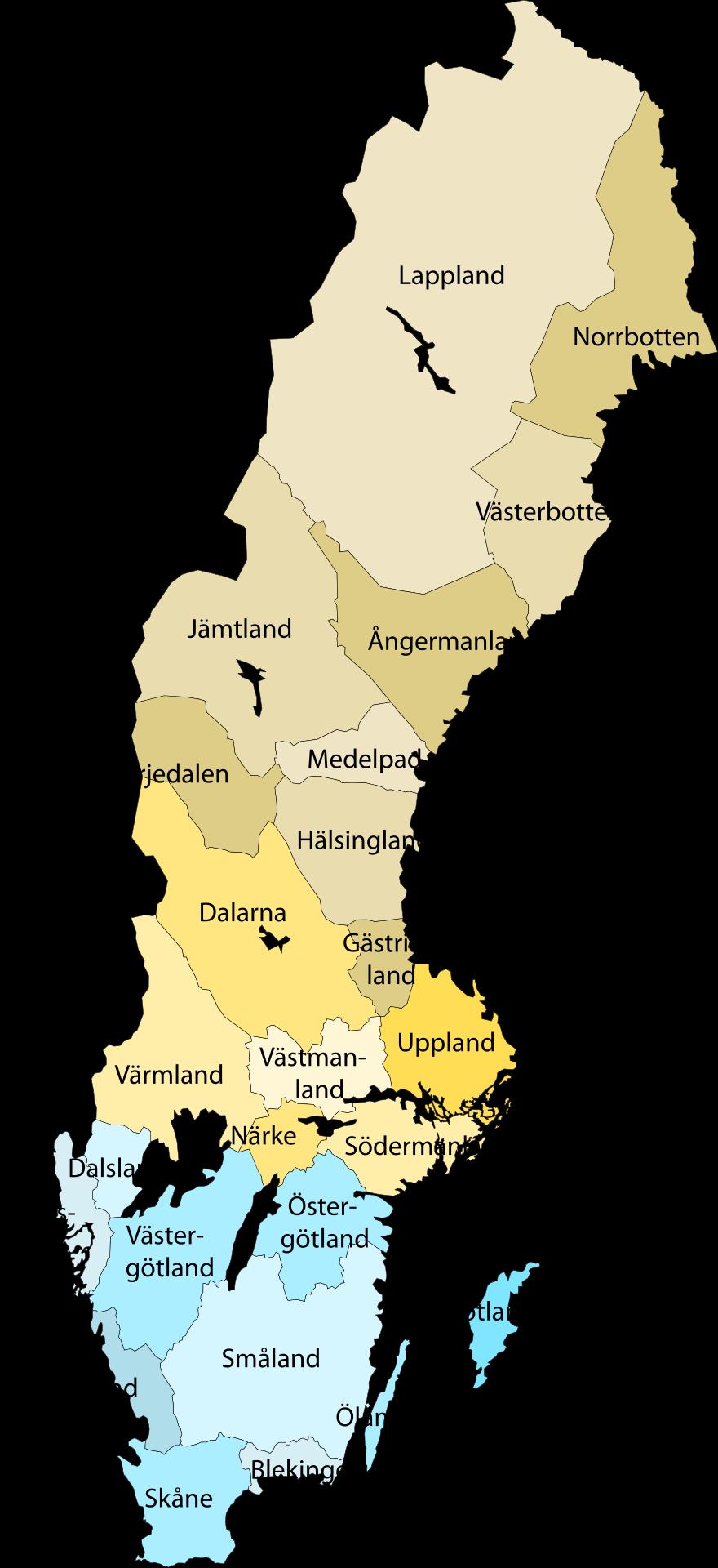 Redigerbar Karta Sverige.Landskap I Sverige Wikipedia Family History Sverige Stockholm