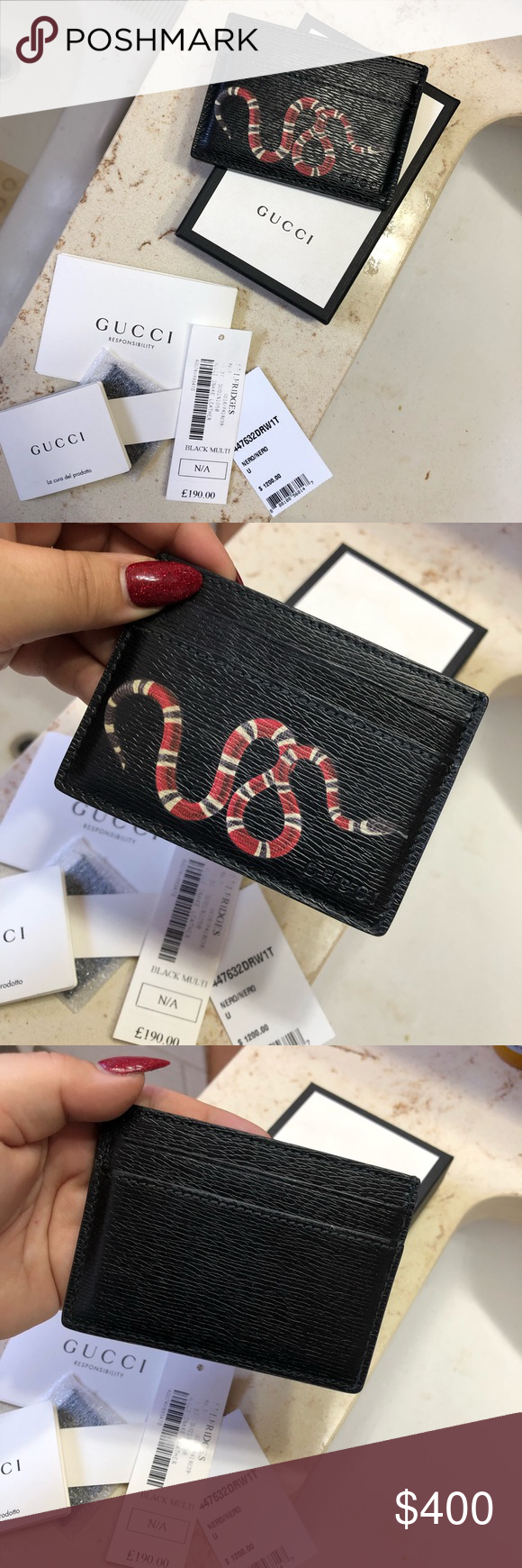 bcfd0bd5c5c1d8 Gucci card holder Gucci snake cardholder Super rare Purchased in the UK at  Selfridges Leather Like new condition Stitching is slightly fraying No  stretches ...
