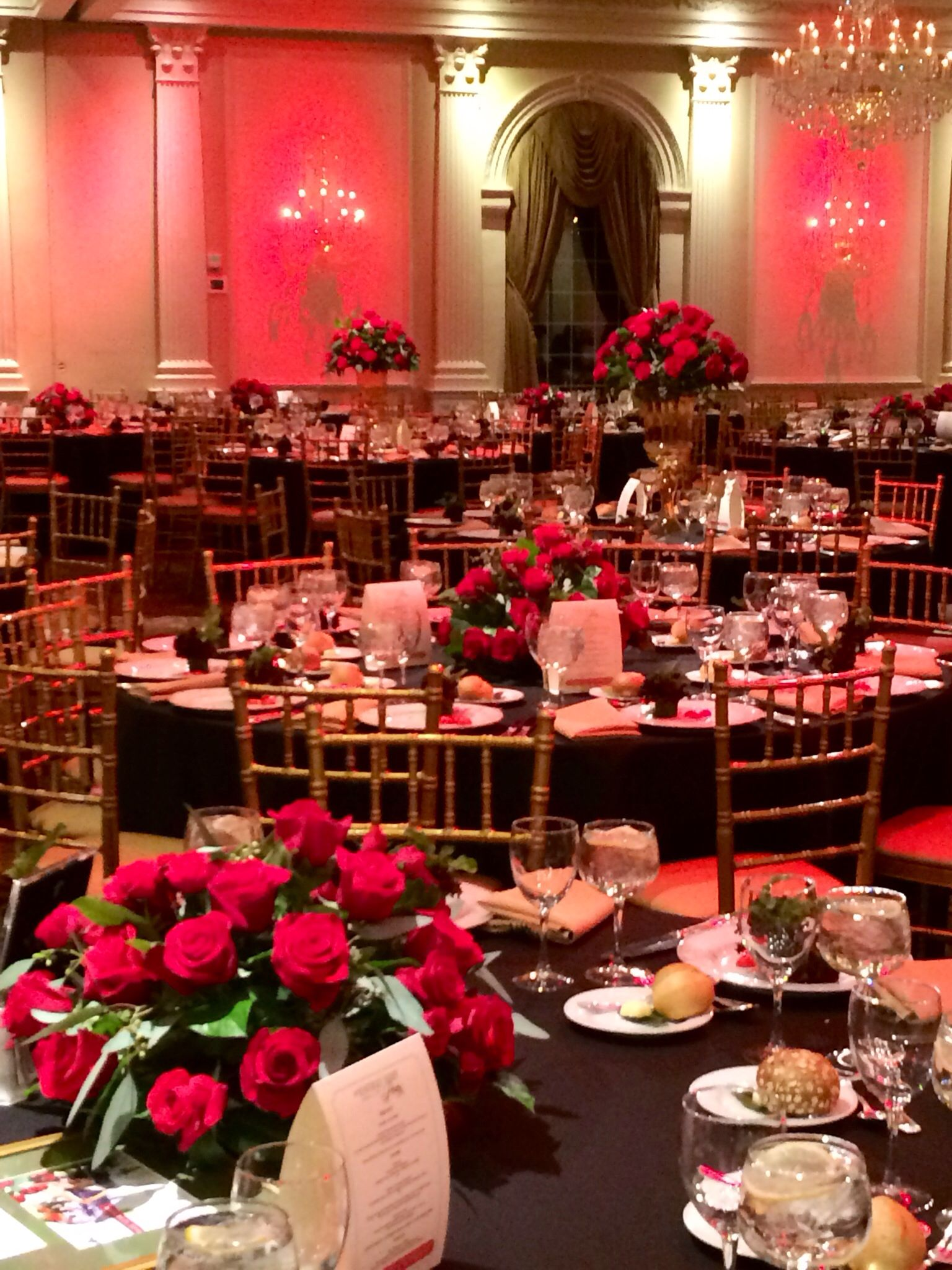 Kentucky Derby Themed Gala Red Black Gold Decor