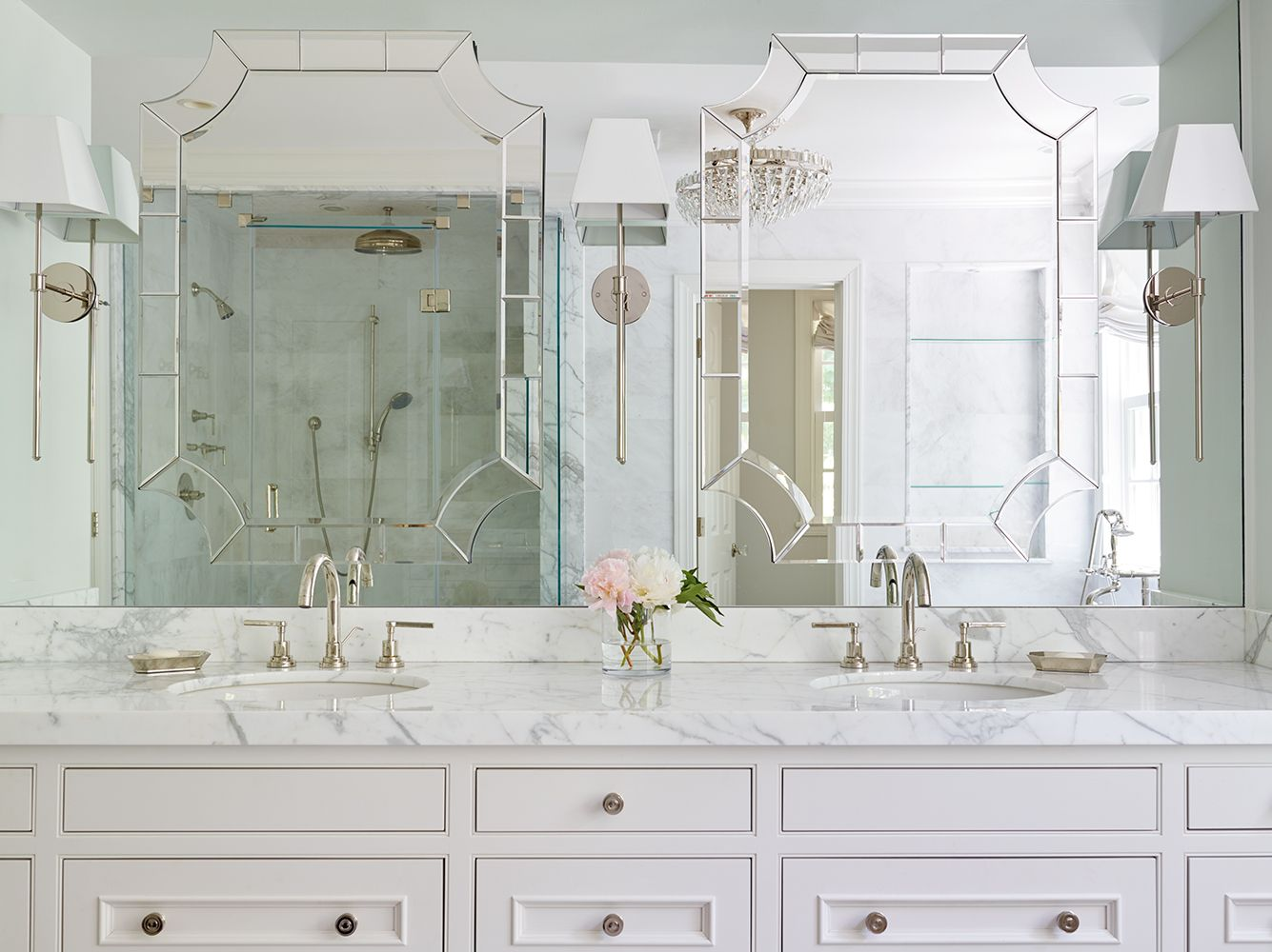 Dream Master Bathroom with custom designed furniture style vanity ...