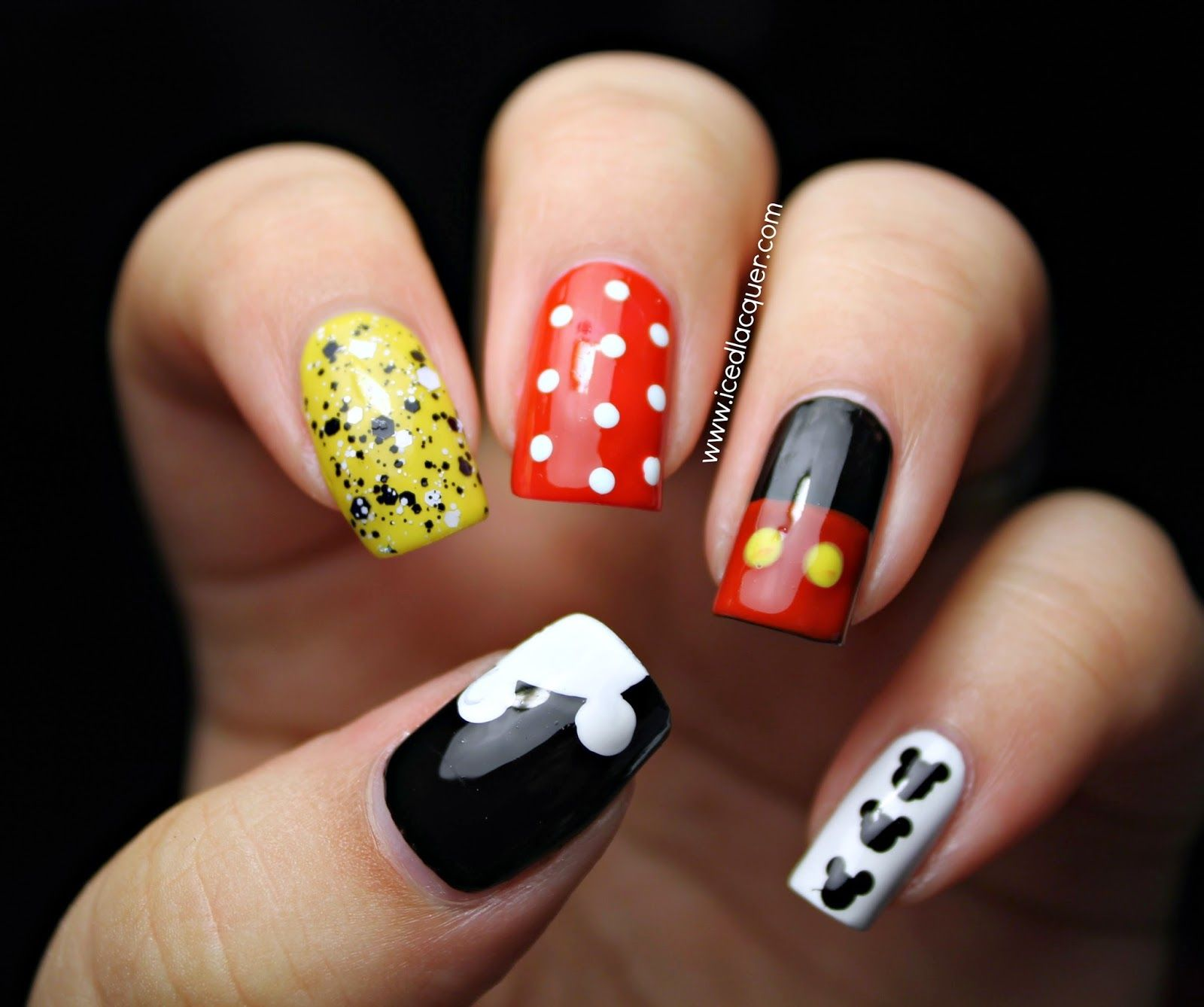 Iced Lacquer: Mickey Mouse Nail Art! #disneyland #mickeymouse ...