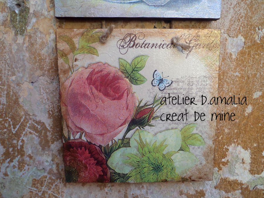 decoupage on wood, part of a 3 pieces set, available in atelier d.amalia