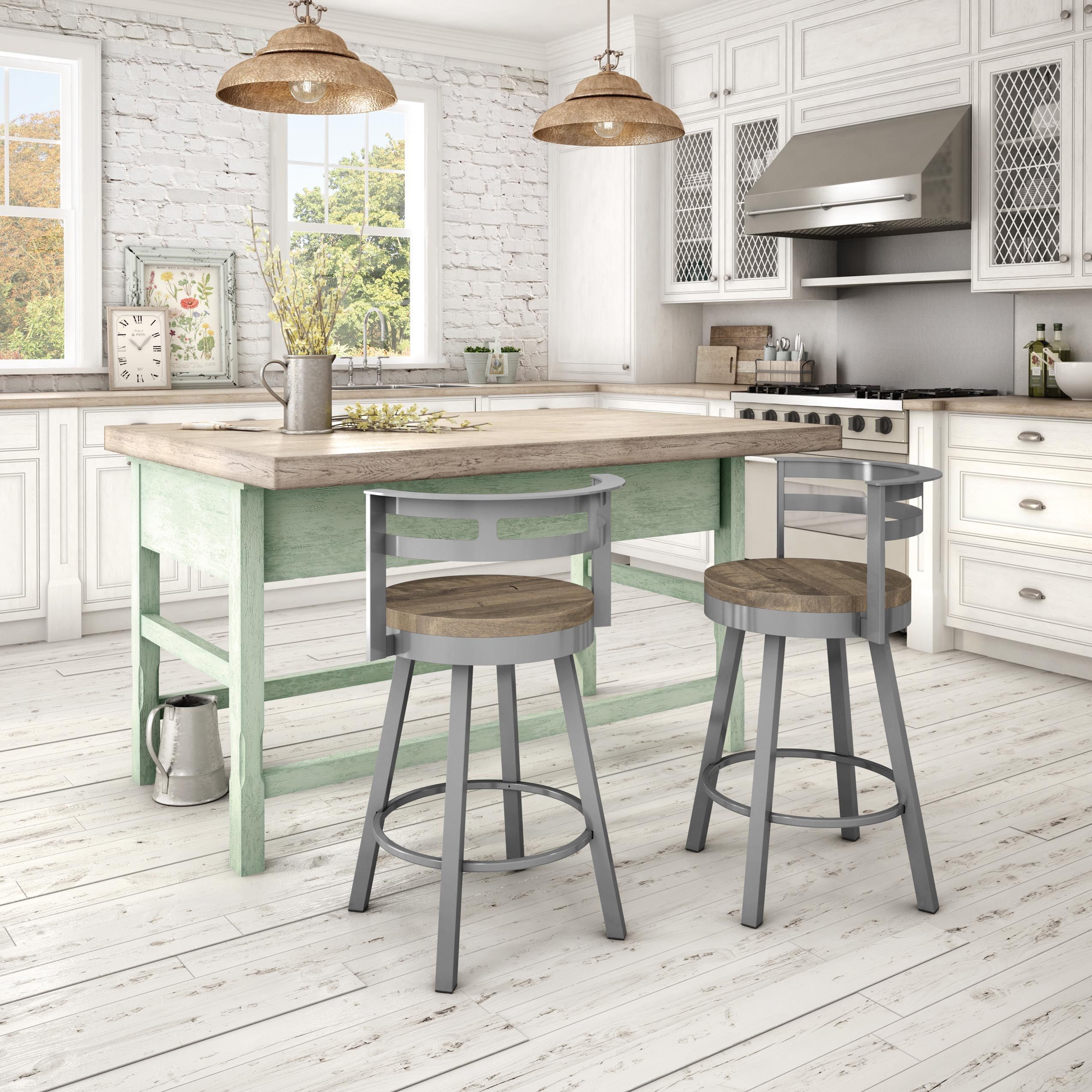 amisco vector swivel metal barstool with distressed wood seat by amisco - Amisco Bar Stools
