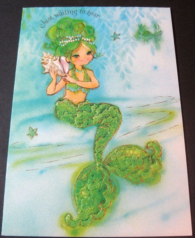 Used Vintage Greeting Card Hallmark Charmers Mermaid Listening Shell Cards