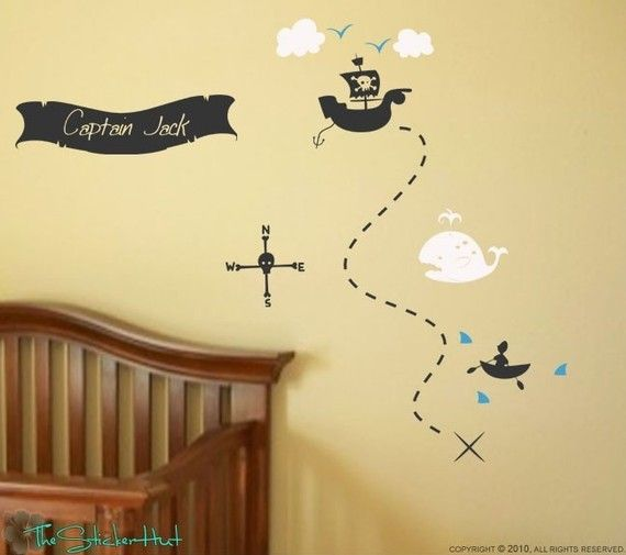 Pirate Treasure Map Your Name Boys Room Nursery - Vinyl Lettering ...
