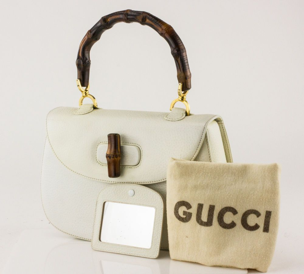 1da1ea5c2442 GUCCI Vintage White Leather Bamboo Top Handle Bag with Mirror ...