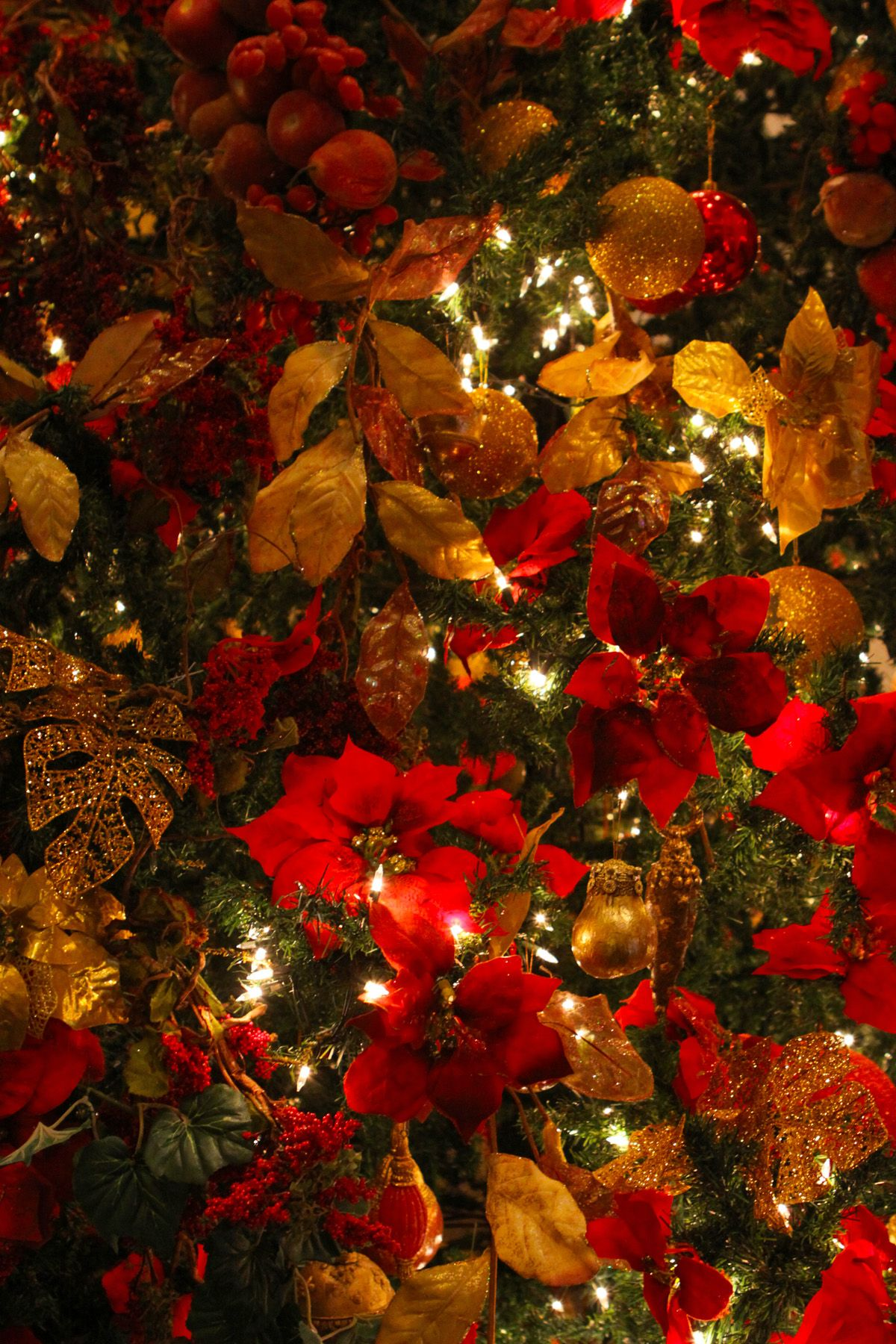 christmas tree themes poinsettia and gold Christmas