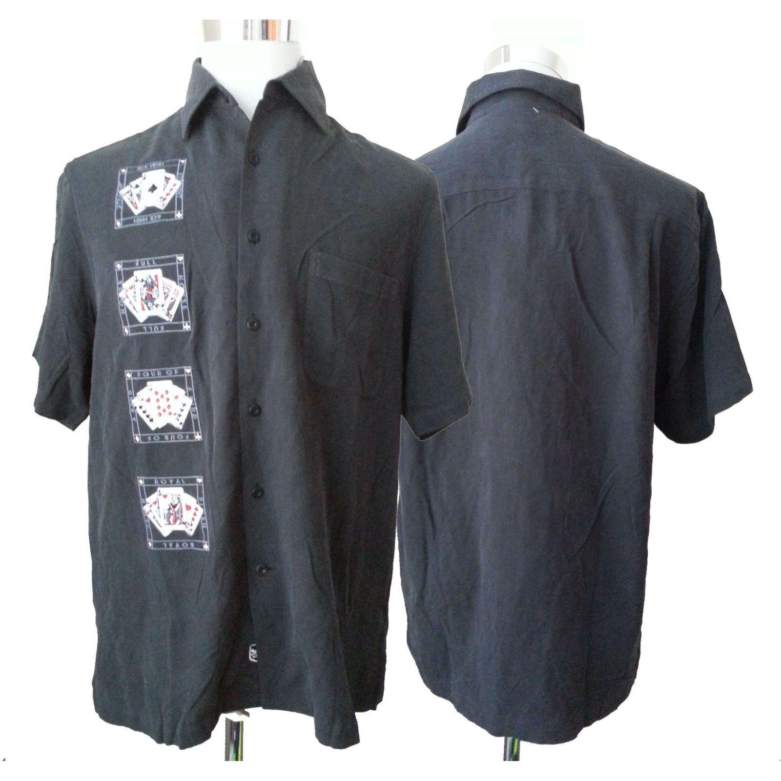 Nat nash luxury originals men silk hawaiian shirt size m black short