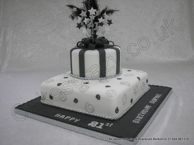 Square And Round 2 Tier Parcel Celebration Cake In Black White Decorated With