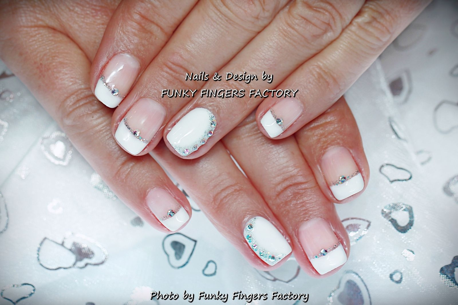 Gelish Wedding French Manicure With Swarovski Crystals By Funky Fingers Factory