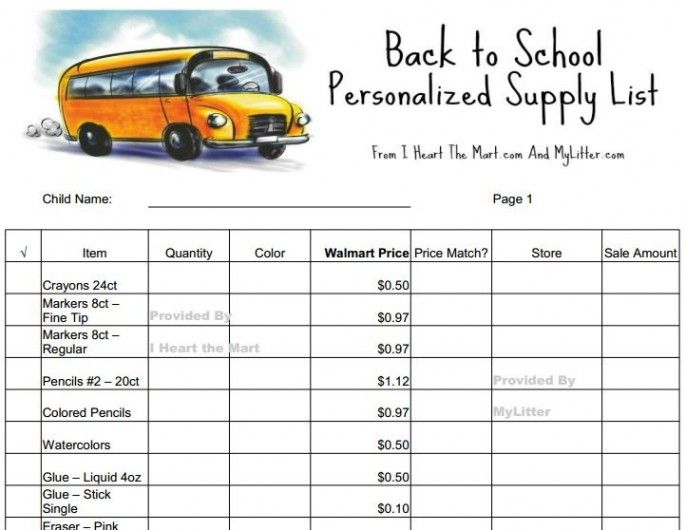 photograph relating to School Supply Printable Coupons known as No cost Back again In direction of Faculty Materials PRINTABLE Walmart Checklist - Value