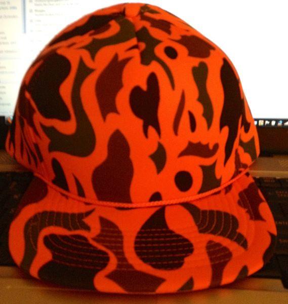 Blaze Orange Camo Winter Like Hat Cap Foam Like Fabric Baseball Hat Cap Nwot Baseball Hats Blaze Orange Hats