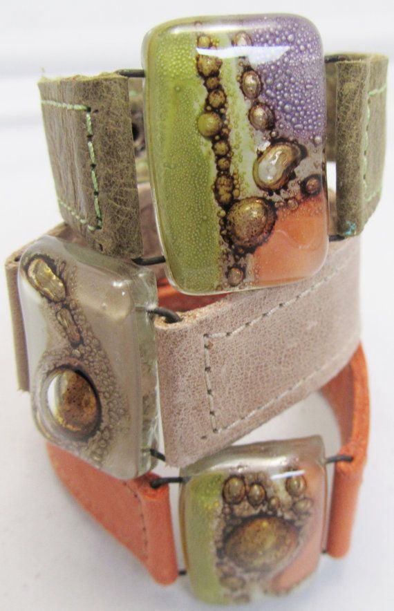 Leather and fused Glass bracelets 1 wide Argentinean by CarliBruno, $42.00