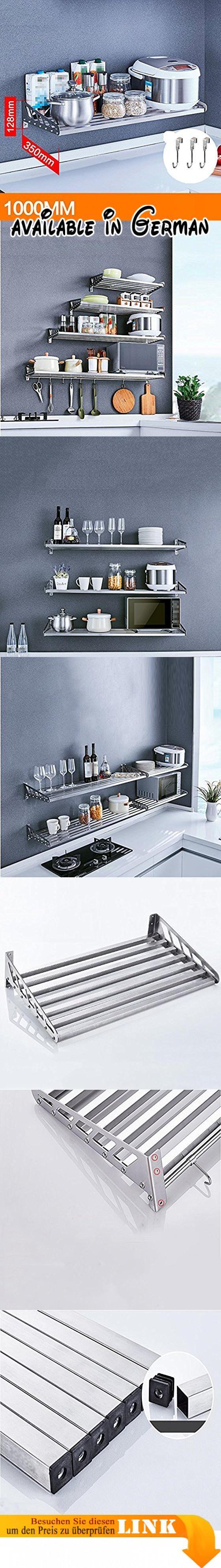 ZWL Edelstahl Küchenwand Regal, Küche Rack Wand hängen Lagerung Rack ...