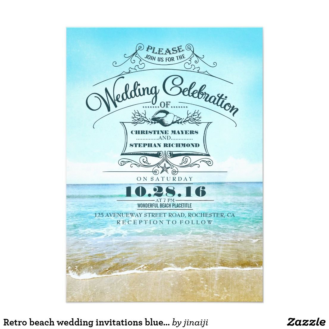 Retro Beach Wedding Invitations Blue Ombre Seaside Beach Wedding