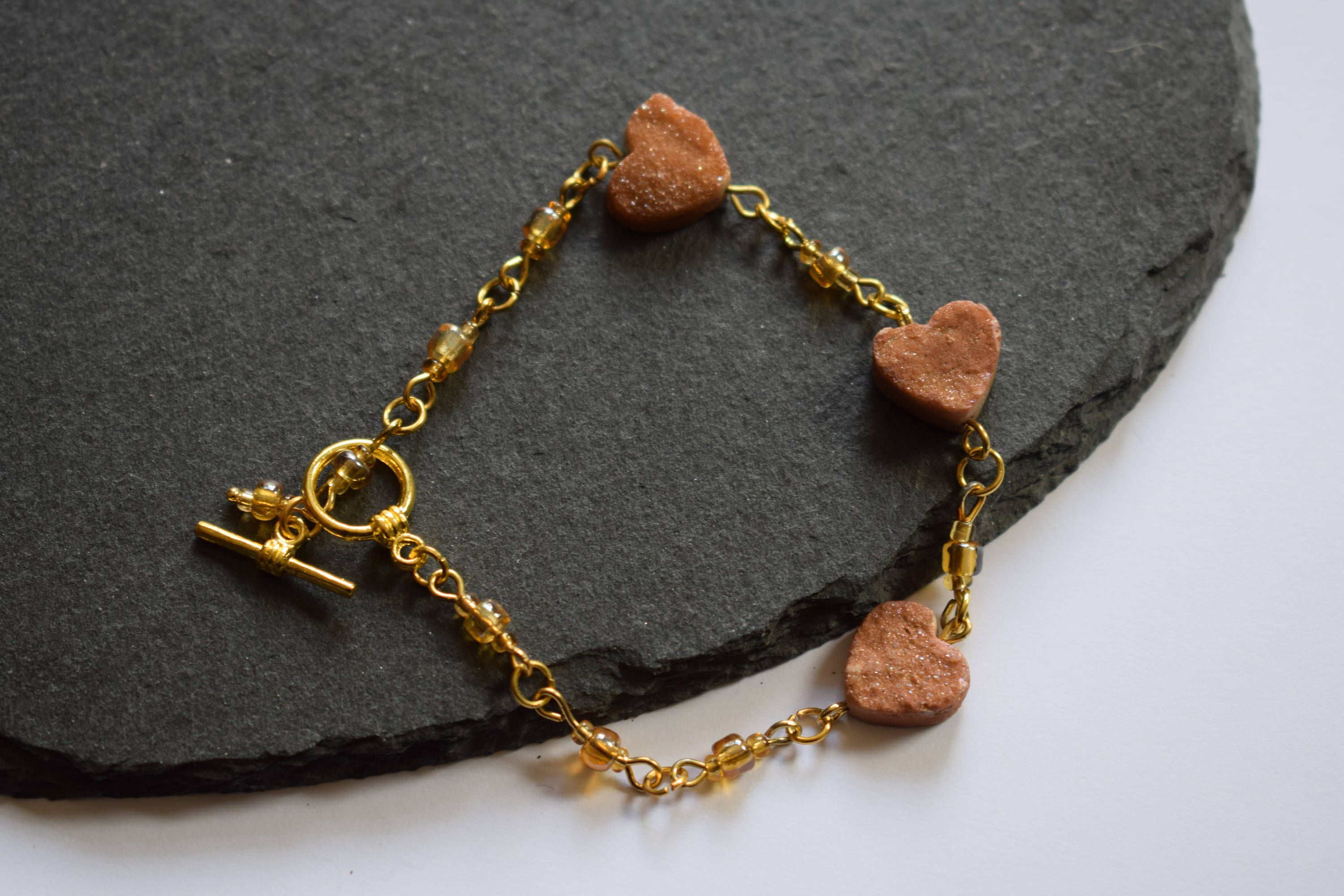 p a linked heart wood chain s bracelet silver earth bead initial dark small bronze stones il as with letter fullxfull hearts stretchy tones