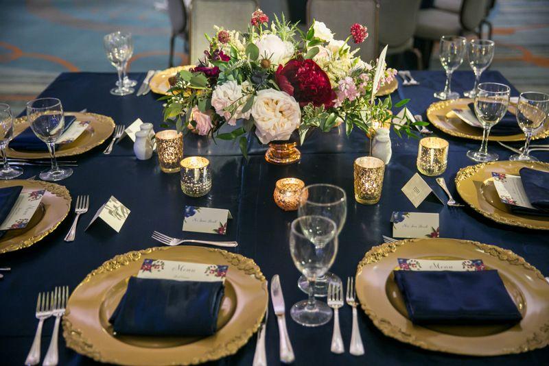 Navy, Gold, Burgundy, Blush, Green Wedding