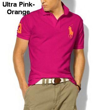 Ralph Lauren Men Classic-Fit Big Pony Polo Ultra Pink Orange